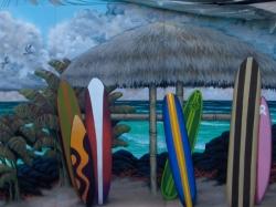 loveland island grill mural - surfboards